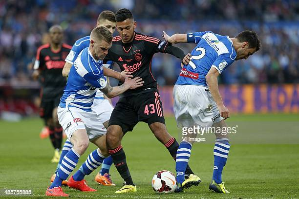 Ricardo Kishna of Ajax Bram van Polen of PEC Zwolle during the Dutch Cup final match between Pec Zwolle and Ajax Amsterdam on April 20 2014 at the...