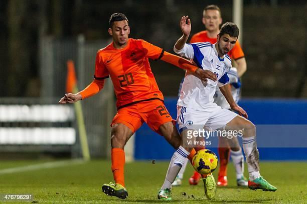 Ricardo Kishna of Netherlands U21 Munas Dabbur of Israel U21 during the EURO 2015 qualifying match between Netherlands U21 and Israel U21 on March 5...