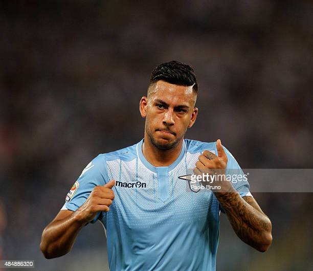 Ricardo Kishna of SS Lazio reacts during the Serie A match between SS Lazio and Bologna FC at Stadio Olimpico on August 22 2015 in Rome Italy