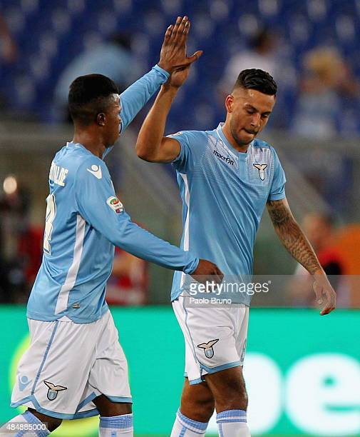 Ricardo Kishna with his teammate Diao Keita Balde of SS Lazio celebrates after scoring the team's second goal during the Serie A match between SS...