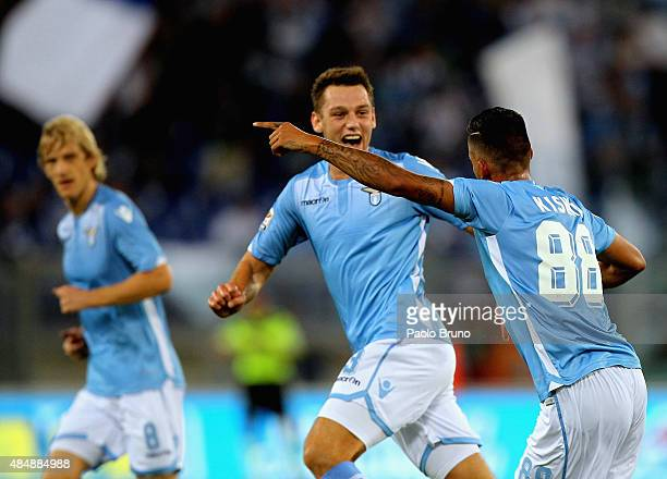 Ricardo Kishna with his teammate Stefan De Vrij of SS Lazio celebrates after scoring the team's second goal during the Serie A match between SS Lazio...