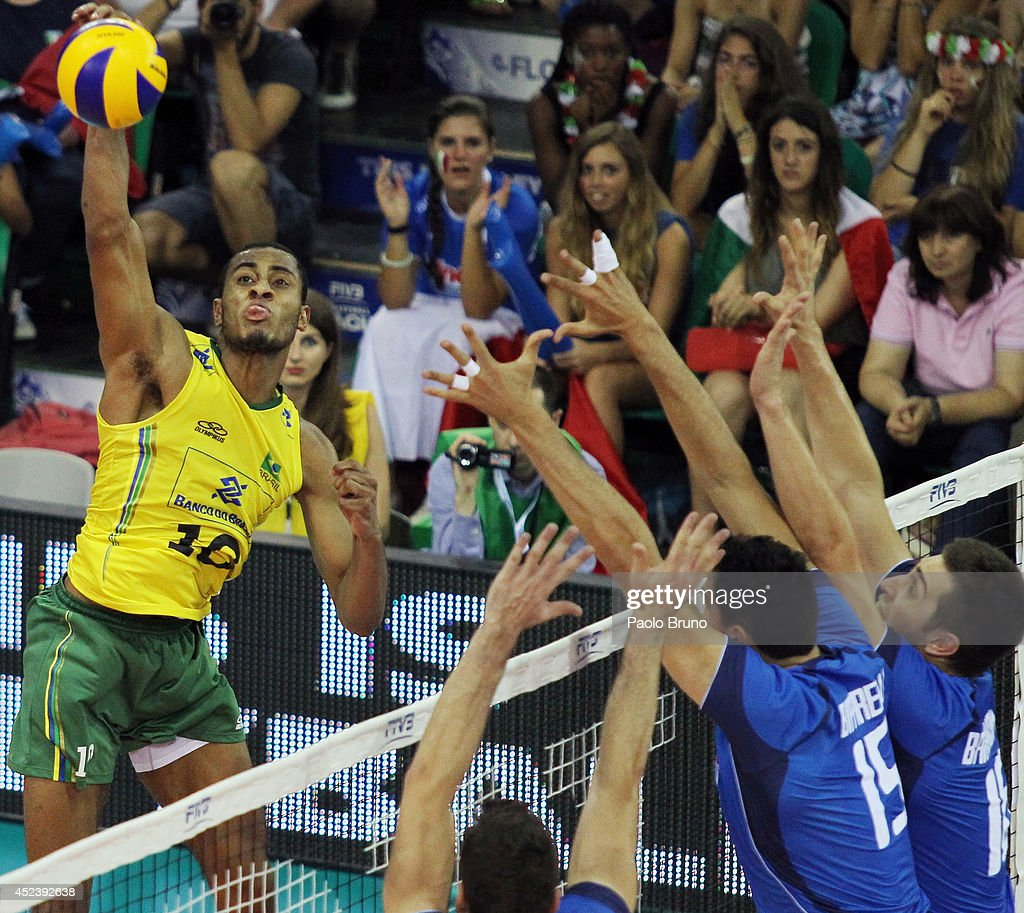 Ricardo Lucarelli of Brazil spikes the ball during the FIVB World League Final Six semifinal match between Italy and Brazil at Mandela Forum on July 19, 2014 in Florence, Italy.