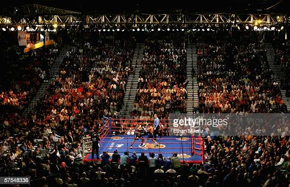 Ricardo Mayorga and Oscar De La Hoya fight during the WBC super welterweight title fight at the MGM Grand Garden Arena May 6 2006 in Las Vegas Nevada...