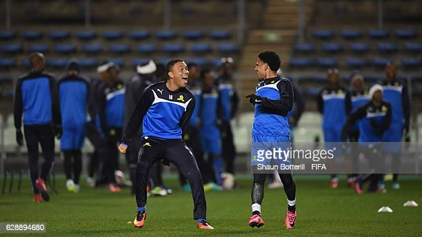 Ricardo Nascimento and Keagan Dolly of Mamelodi Sundowns share a joke during a training session at Nagai Ball Game Field on December 10 2016 in Osaka...