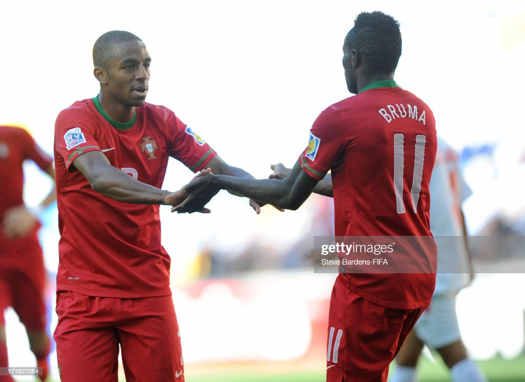 Ricardo of Portugal celebrates scoring the opening goal with Bruma during the FIFA U20 World Cup Group B match between Portugal and Cuba at Kadir Has...