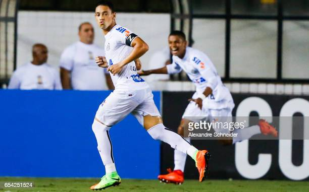 Ricardo Oiveira of Santos celebrates their first goal during the match between Santos of Brazil and The Strongest of Bolivia for the Copa Bridgestone...