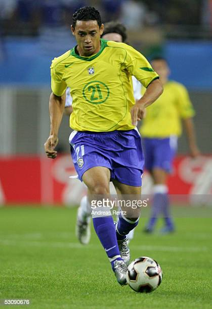Ricardo Oliveira of Brazil in action during the FIFA Confederations Cup 2005 match between Brazil and Greece on June 16 2005 in Leipzig Germany