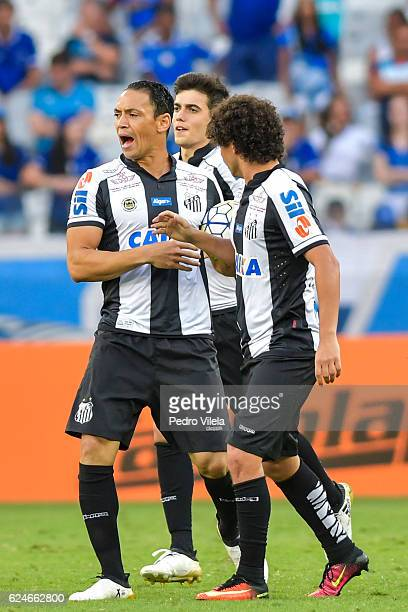 Ricardo Oliveira of Santos celebrates a scored goal against Cruzeiro during a match between Cruzeiro and Santos as part of Brasileirao Series A 2016...