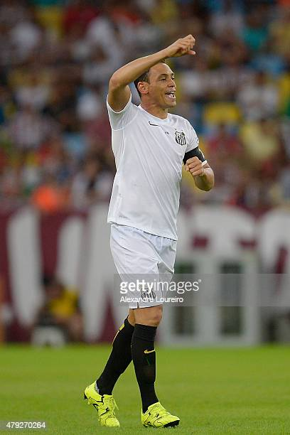 Ricardo Oliveira of Santos celebrates a scored goal during the match between Fluminense and Santos as part of Brasileirao Series A 2015 at Maracana...