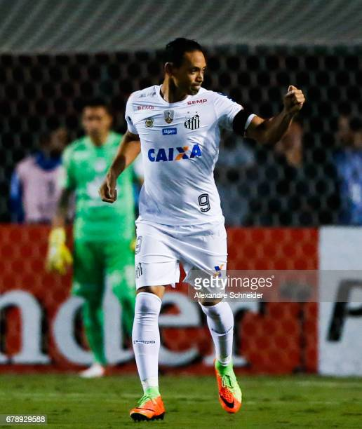 Ricardo Oliveira of Santos celebrates after scoring their first goal of Santos celebrate their first goal during the match between Santos of Brazil...