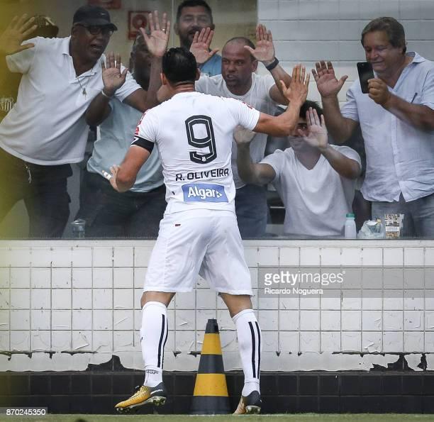 Ricardo Oliveira of Santos celebrates his goal during the match between Santos and Atletico Mineiro as a part of Campeonato Brasileiro 2017 at Vila...