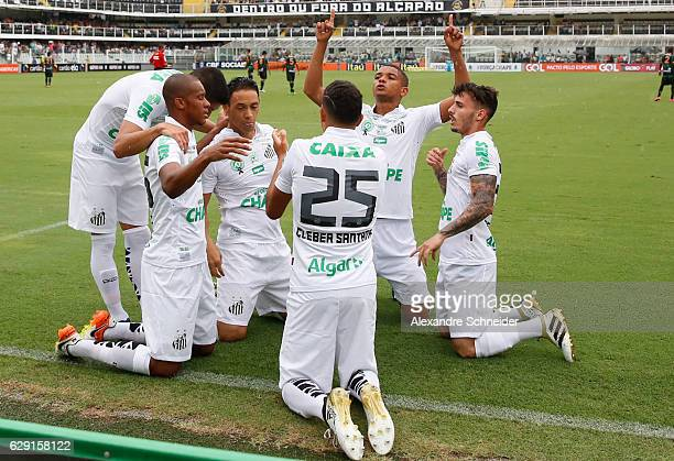 Ricardo Oliveira of Santos celebrates their first goal during the match between Santos and America MG for the Brazilian Series A 2016 at Vila Belmiro...