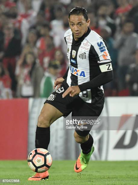 Ricardo Oliveira of Santos drives the ball during a group stage match between Independiente Santa Fe v Santos as part of Copa CONMEBOL Libertadores...