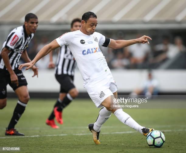 Ricardo Oliveira of Santos in action during the match between Santos and Atletico Mineiro as a part of Campeonato Brasileiro 2017 at Vila Belmiro...