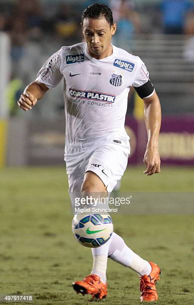 Ricardo Oliveira of Santos runs with the ball during a match between Santos v Flamengo of Brasileirao Series A 2015 at Vila Belmiro Stadium on...
