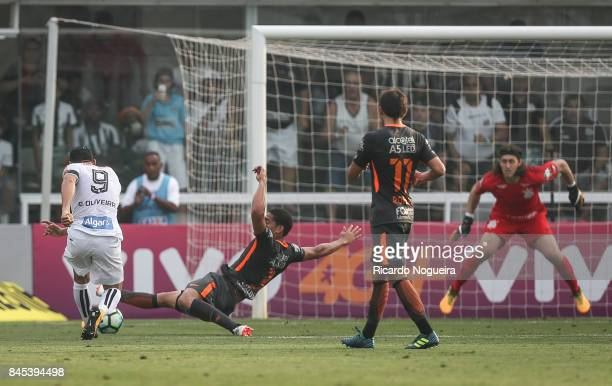 Ricardo Oliveira of Santos shoots at goal during the match between Santos and Corinthians as a part of Campeonato Brasileiro 2017 at Vila Belmiro...