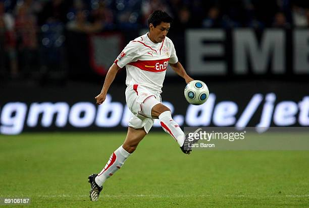 Ricardo Osorio of Stuttgart runs with the ball during the THome Cup final match between VfB Stuttgart and Hamburger SV at Veltins Arena on July 19...
