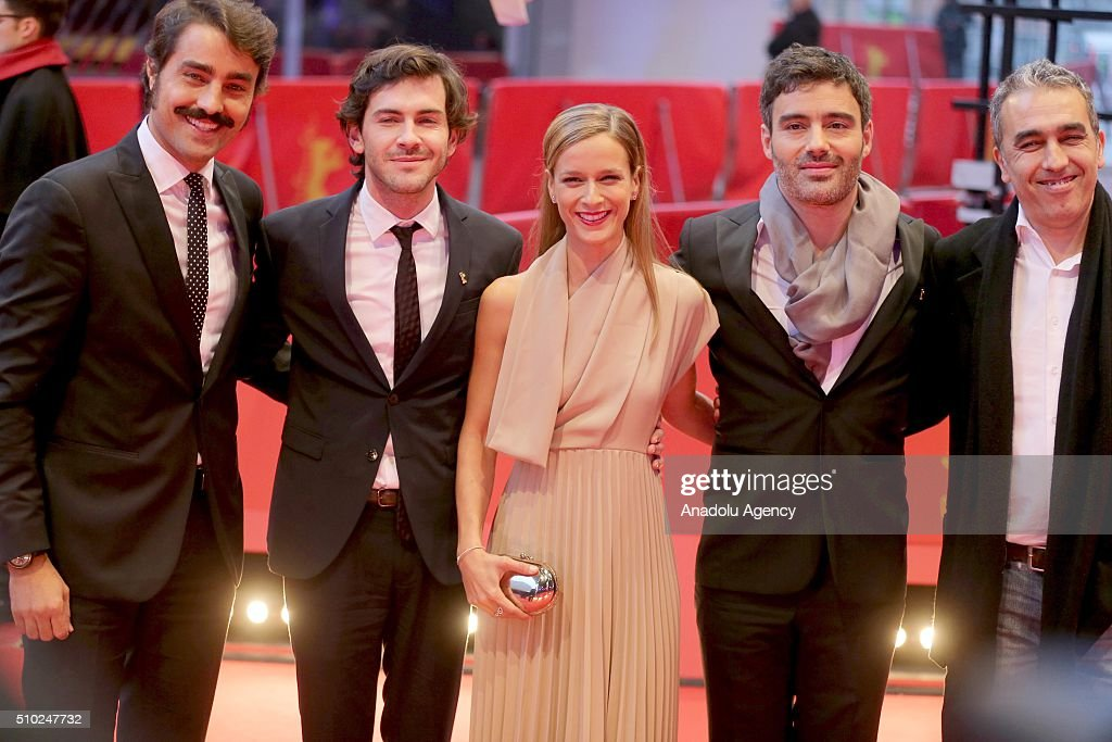 Ricardo Pereira (L), Miguel Nunes (2nd L), Margarida Vila-Nova (C), director Ivo Ferreira (2nd R) and producer Luis Urbano (R) attend the 'Letters from War' premiere during the 66th Berlinale International Film Festival Berlin at Berlinale Palace in Berlin, Germany on February 14, 2016.