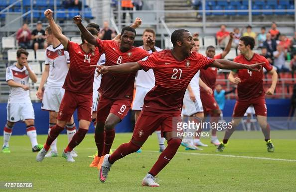Ricardo Pereira of Portugal celebrates scoring his team's second goal during the UEFA Under 21 European Championship 2015 semi final football match...