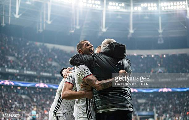Ricardo Quaresma and teammates celebrate their teams third goal during the UEFA Champions League match between Besiktas JK and SL Benfica at Vodafone...