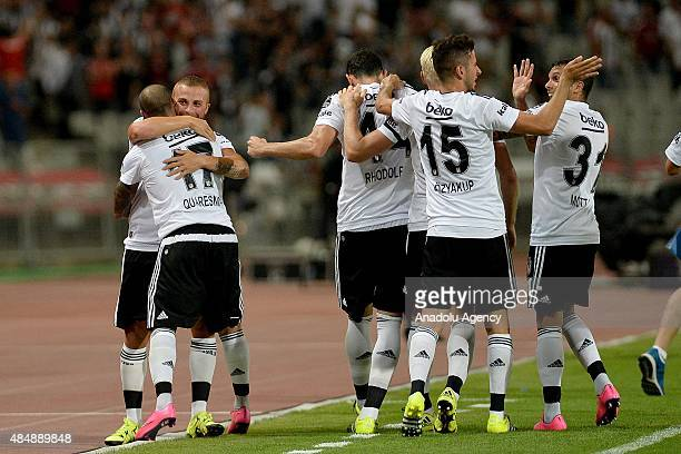 Ricardo Quaresma of Besiktas celebrates with his teammates after scoring a goal during the Turkish Spor Toto Super League football match between...