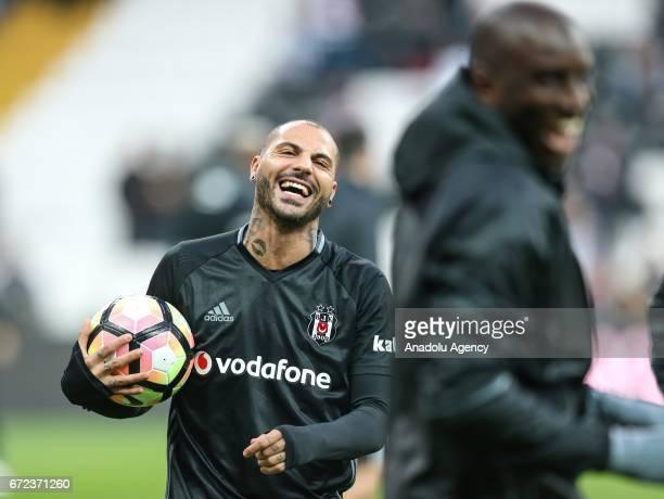 Ricardo Quaresma of Besiktas gestures as he warms up before the Turkish Spor Toto Super Lig football match between Besiktas and Adanaspor at Vodafone...