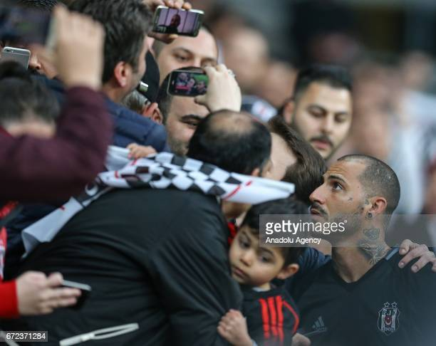 Ricardo Quaresma of Besiktas greets fans before the Turkish Spor Toto Super Lig football match between Besiktas and Adanaspor at Vodafone Arena in...