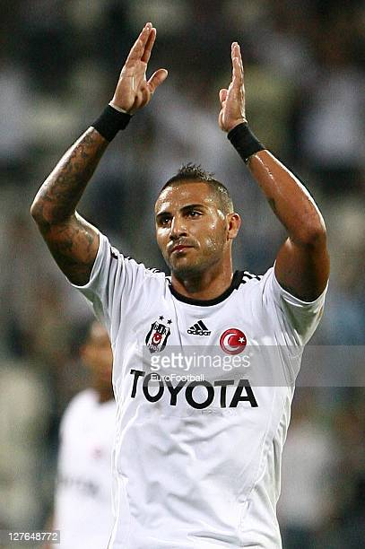 Ricardo Quaresma of Besiktas JK applauds the fans during the Turkish Spor Toto Super League match between Besiktas JK and Antalyaspor held on...