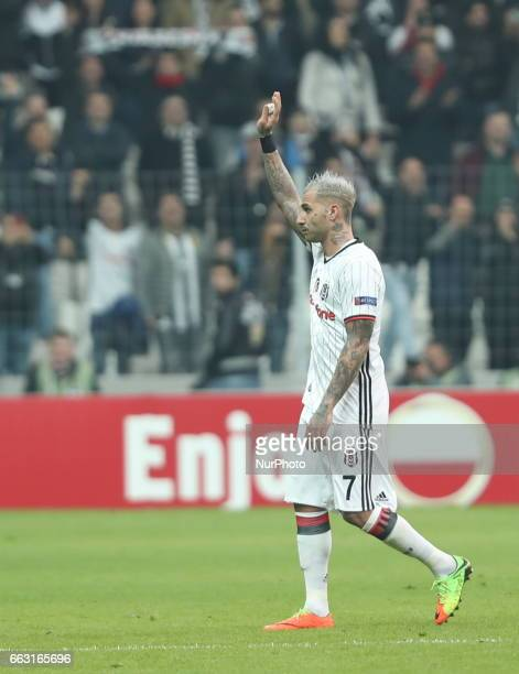 Ricardo Quaresma of Besiktas reacts during the UEFA Europa League match between Besiktas v Hapoel Beer Sheva at Vodafone Arena in Istanbul Turkey 23...