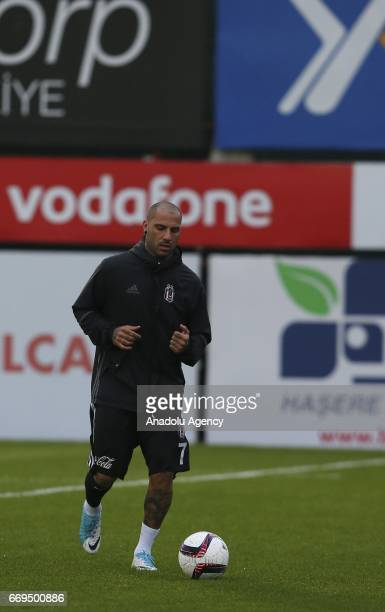 Ricardo Quaresma of Besiktas takes part in the training session ahead of the UEFA Europa League second leg quarter final football match between...