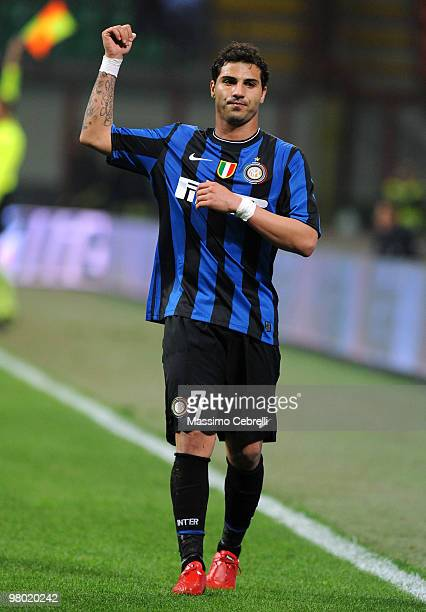 Ricardo Quaresma of FC Internazionale Milano gestures during the Serie A match between FC Internazionale Milano and AS Livorno Calcio at Stadio...