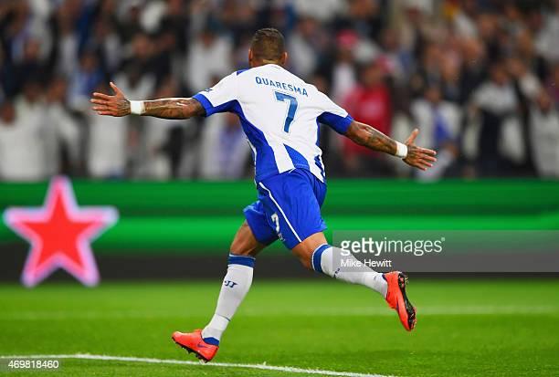 Ricardo Quaresma of FC Porto celebrates as he scores their second goal during the UEFA Champions League Quarter Final first leg match between FC...