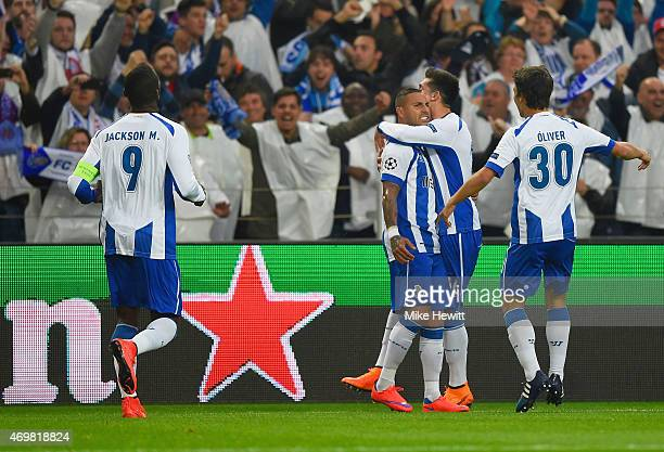 Ricardo Quaresma of FC Porto celebrates with team mates as he scores their second goal during the UEFA Champions League Quarter Final first leg match...