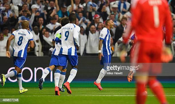 Ricardo Quaresma of FC Porto celebrates with team mates as he scores their second goal during the UEFA Champions League Quarter Final first leg match...