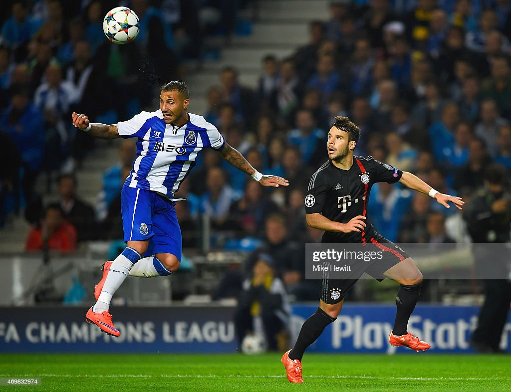 Ricardo Quaresma of FC Porto is watched by Juan Bernat of Bayern Muenchen during the UEFA Champions League Quarter Final first leg match between FC...