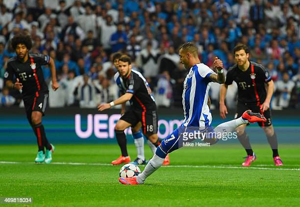 Ricardo Quaresma of FC Porto scores their first goal from the penalty spot during the UEFA Champions League Quarter Final first leg match between FC...