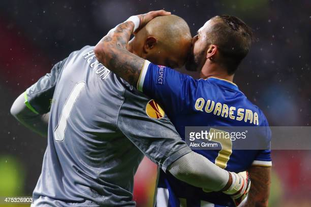 Ricardo Quaresma of Porto kisses goalkeeper Helton of Porto during the UEFA Europa League Round of 32 second leg match between Eintracht Frankfurt...