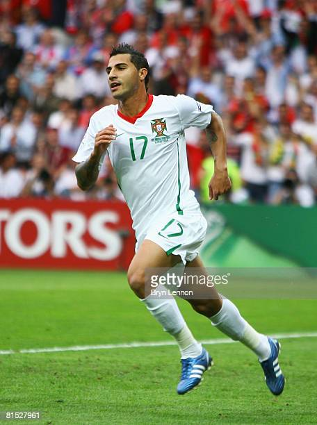 Ricardo Quaresma of Portugal celebrates after scoring his team's third goal during the UEFA EURO 2008 Group A match between Czech Republic and...