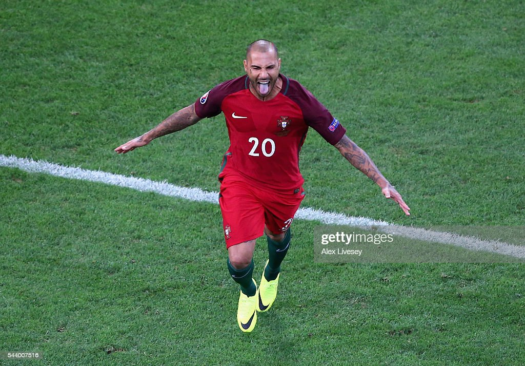 Ricardo Quaresma of Portugal celebrates scoring at the penalty shootout to win the game during the UEFA EURO 2016 quarter final match between Poland and Portugal at Stade Velodrome on June 30, 2016 in Marseille, France.
