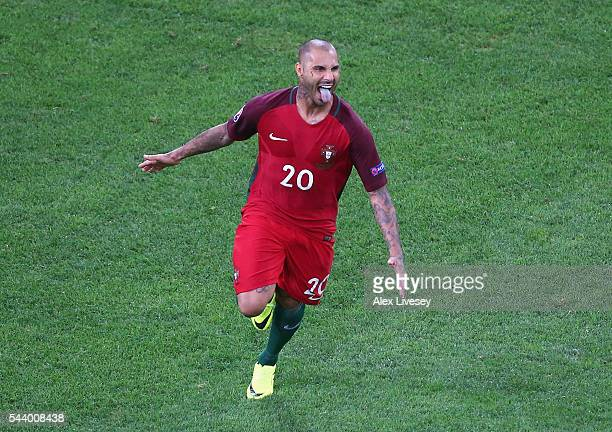 Ricardo Quaresma of Portugal celebrates scoring at the penalty shootout to win the game during the UEFA EURO 2016 quarter final match between Poland...