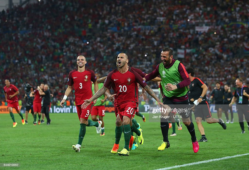 Ricardo Quaresma (C) of Portugal celebrates scoring at the penalty shootout to win the game with his team mates after the UEFA EURO 2016 quarter final match between Poland and Portugal at Stade Velodrome on June 30, 2016 in Marseille, France.