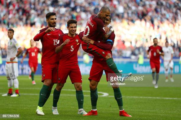 Ricardo Quaresma of Portugal celebrates scoring his sides first goal with his Portugal team mates during the FIFA Confederations Cup Russia 2017...