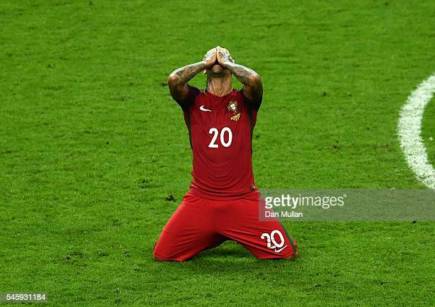 Ricardo Quaresma of Portugal celebrates winning at the final whistle during the UEFA EURO 2016 Final match between Portugal and France at Stade de...