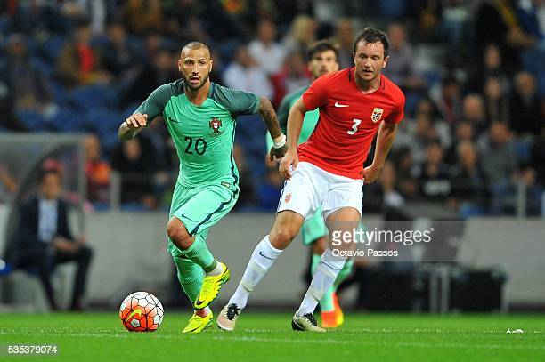 Ricardo Quaresma of Portugal challenges Heven Hovland of Norway during the International Friendly match between Portugal and Norway at Dragao Stadium...