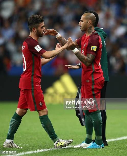 Ricardo Quaresma of Portugal comes on for Bernardo Silva of Portugal during the FIFA Confederations Cup Russia 2017 SemiFinal between Portugal and...