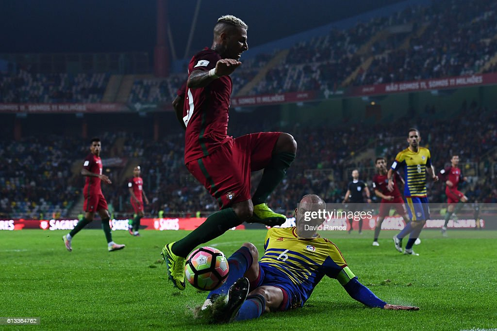 Ricardo Quaresma of Portugal competes for the ball with Ildefons Lima of Andorra during the FIFA 2018 World Cup Qualifier between Portugal and Andorra at Estadio Municipal de Aveiro on October 7, 2016 in Aveiro, Portugal.