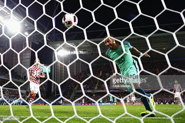 Ricardo Quaresma of Portugal heads the ball to score the first goal during the UEFA EURO 2016 round of 16 match between Croatia and Portugal at Stade...