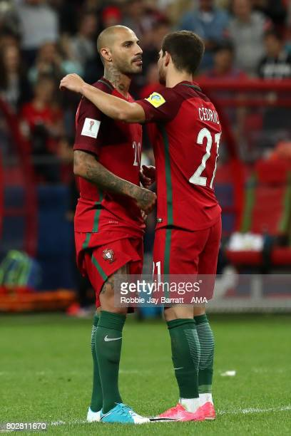 Ricardo Quaresma of Portugal is consoled by Cedric Soares after a penalty shootout during the FIFA Confederations Cup Russia 2017 SemiFinal match...