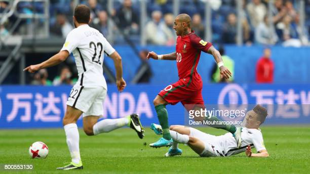 Ricardo Quaresma of Portugal is tackled by Ryan Thomas of New Zealand during the FIFA Confederations Cup Russia 2017 Group A match between New...