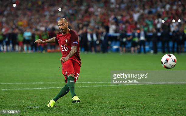 Ricardo Quaresma of Portugal scores at the penalty shootout to win the game during the UEFA EURO 2016 quarter final match between Poland and Portugal...